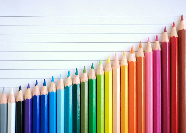 bar chart graph rainbow colored pencils showing result of success - coloured pencil stock photos and pictures