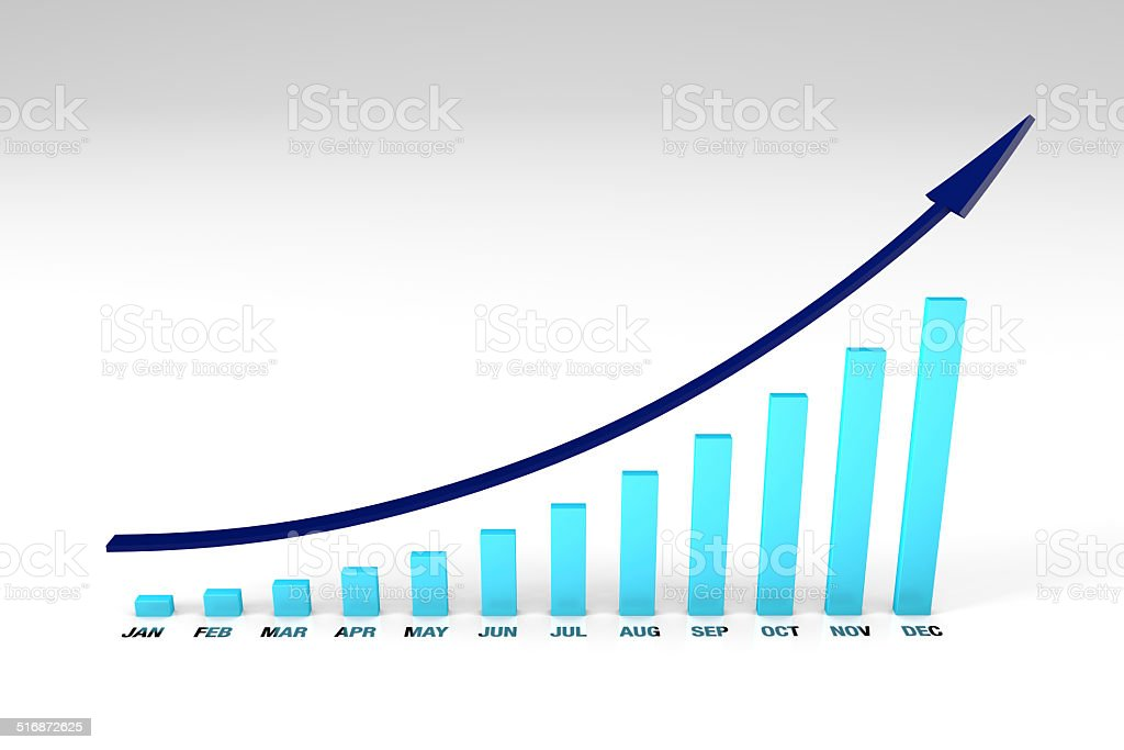 Bar chart with months upwards stock photo