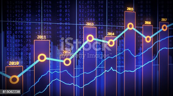 istock Bar Chart Yearly Financial Report Spreadsheet 815062238