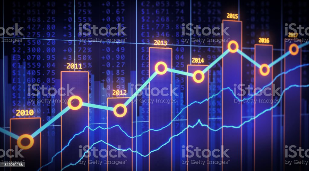 Bar Chart Yearly Financial Report Spreadsheet stock photo