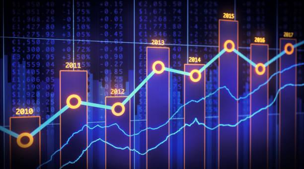 bar chart yearly financial report spreadsheet - diagramma a colonne foto e immagini stock
