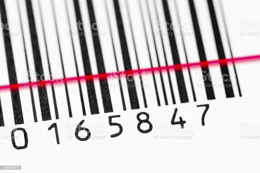 Bar code and scanner stock photo