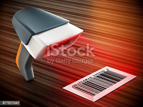 92884259 istock photo Bar code reader pointed at the label standing on wooden surface 677521042