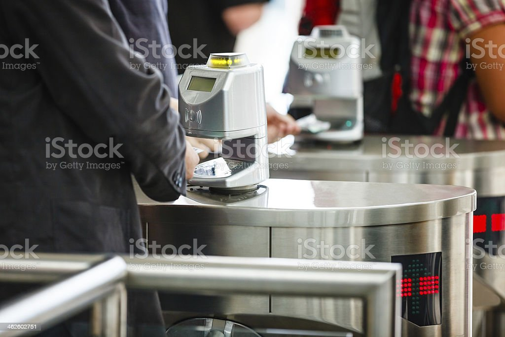 Bar code ticket scanners at fair entrance gate stock photo