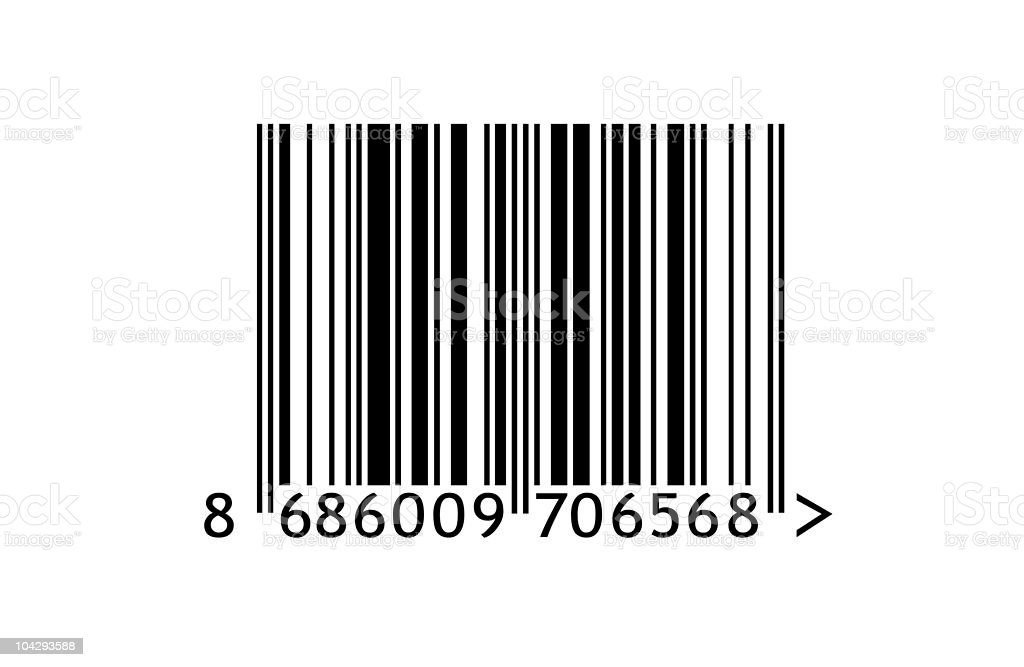 UPC bar code with 16 characters along bottom stock photo