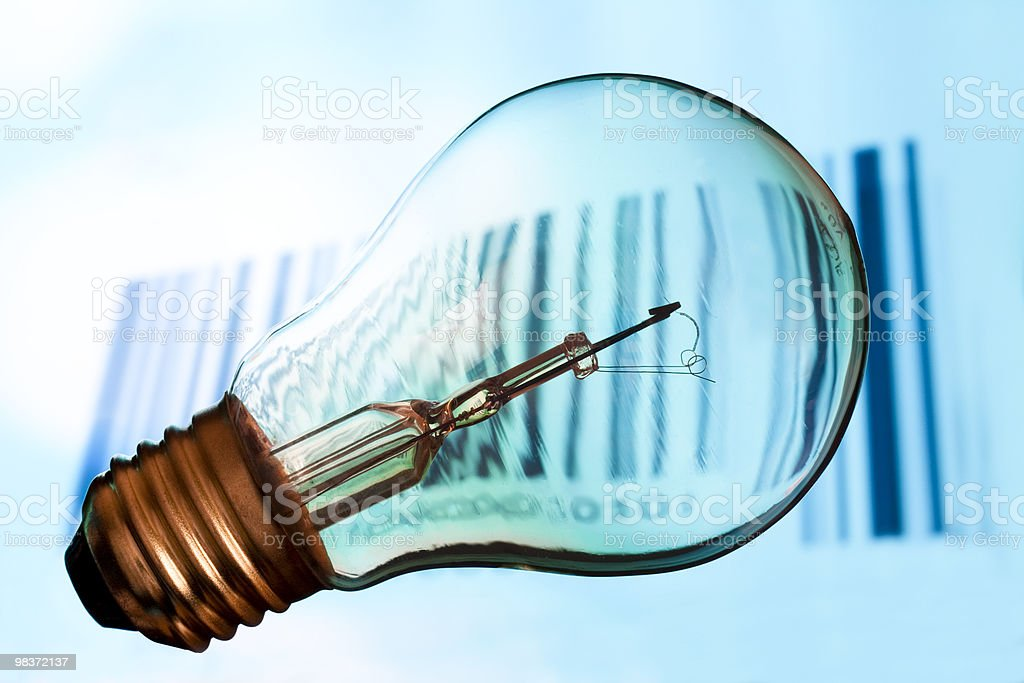 Bar code with old lightbulb royalty-free stock photo