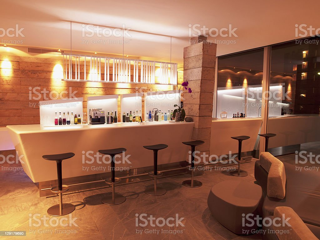 Bar counter in luxury hotel royalty-free stock photo