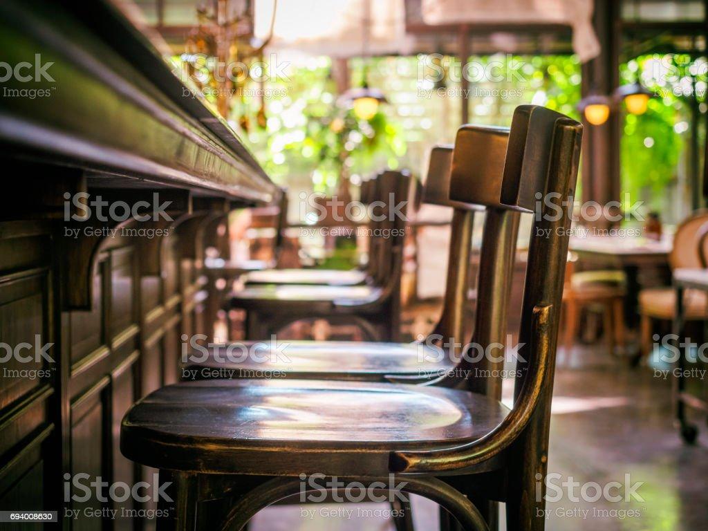 Bar Counter seat row Cafe Restaurant Interior Vintage style stock photo