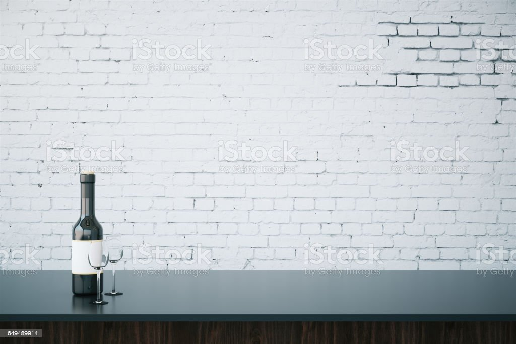 Bar Counter With Blank Wall Stock Photo Download Image Now Istock