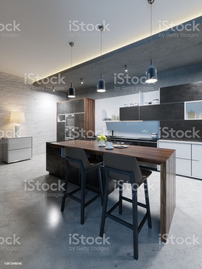 Bar Counter With Chairs And A Kitchen Island In A Modern Kitchen Evening  Lighting Stock Photo   Download Image Now