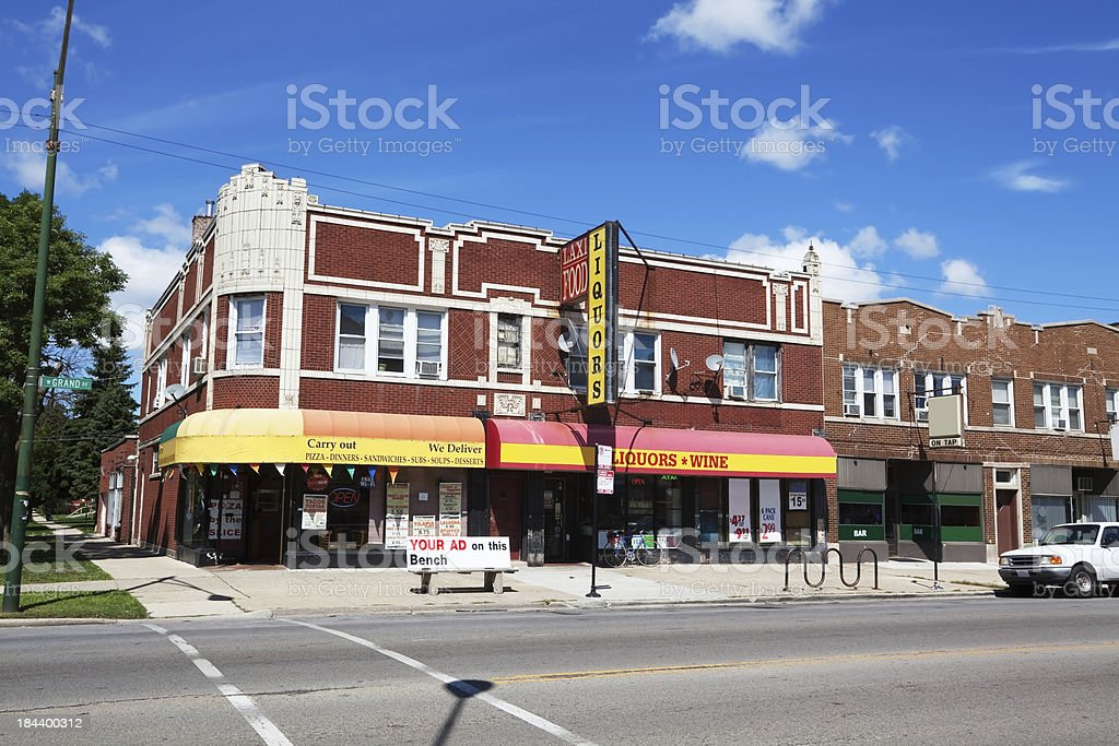 Bar, Fast Food and Wine Store in Chicago Neighborhood royalty-free stock photo