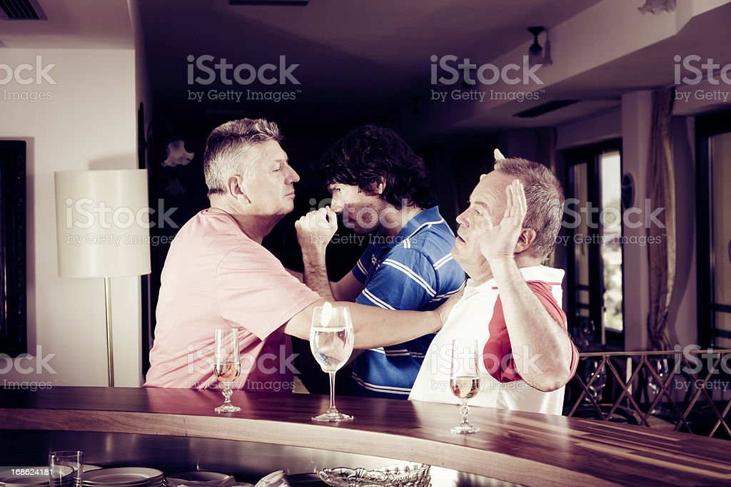 bar fight stock photo