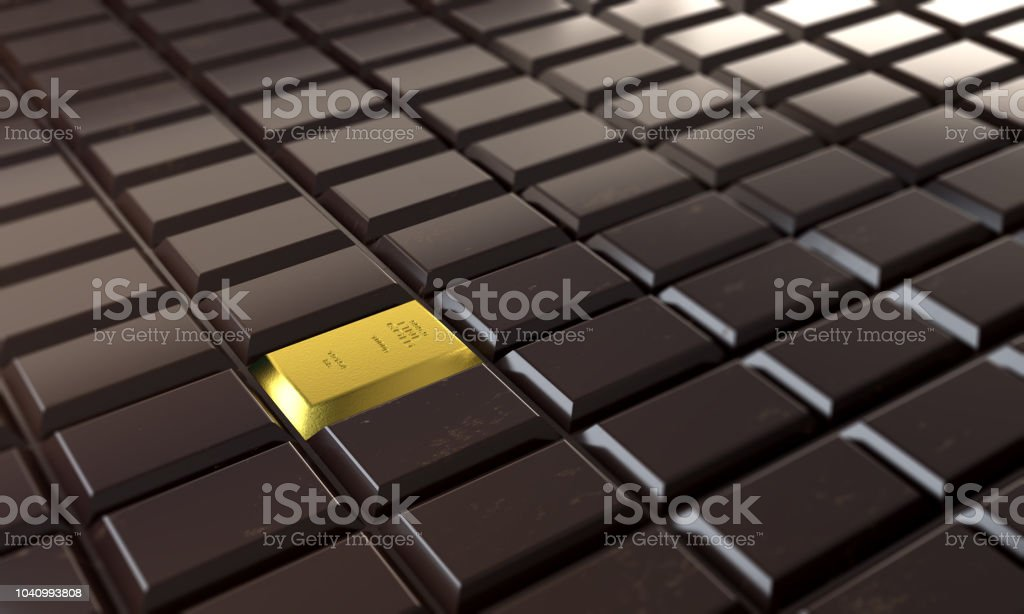Bar Gold In Chocolate Bar - Standing Out From The Crowd stock photo