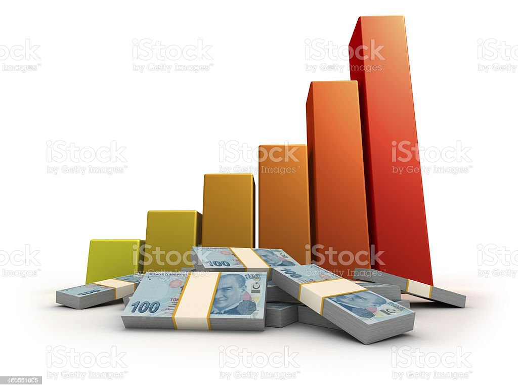 Bar Graph and Turkish Lira bills stock photo