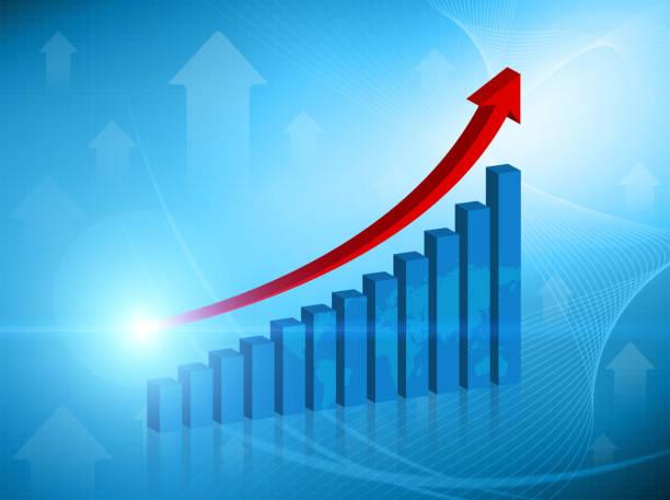 Bar graph concept background stock photo
