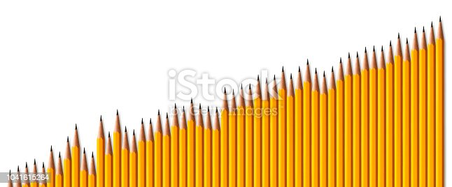 Bar graph of yellow pencils showing result of success on white background.