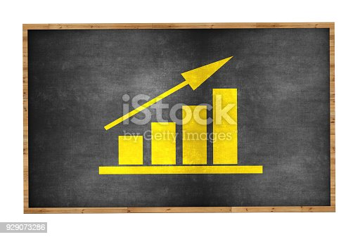 istock Bar Graph on Blackboard Background 929073286