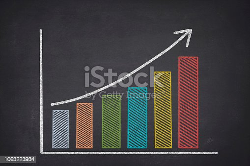 Chalk drawing of bar graph, and data statics on blackboard. It shows profits, gains, and growth with increasing data.