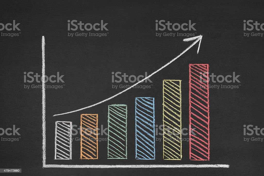 Bar Graph on Blackboard stock photo