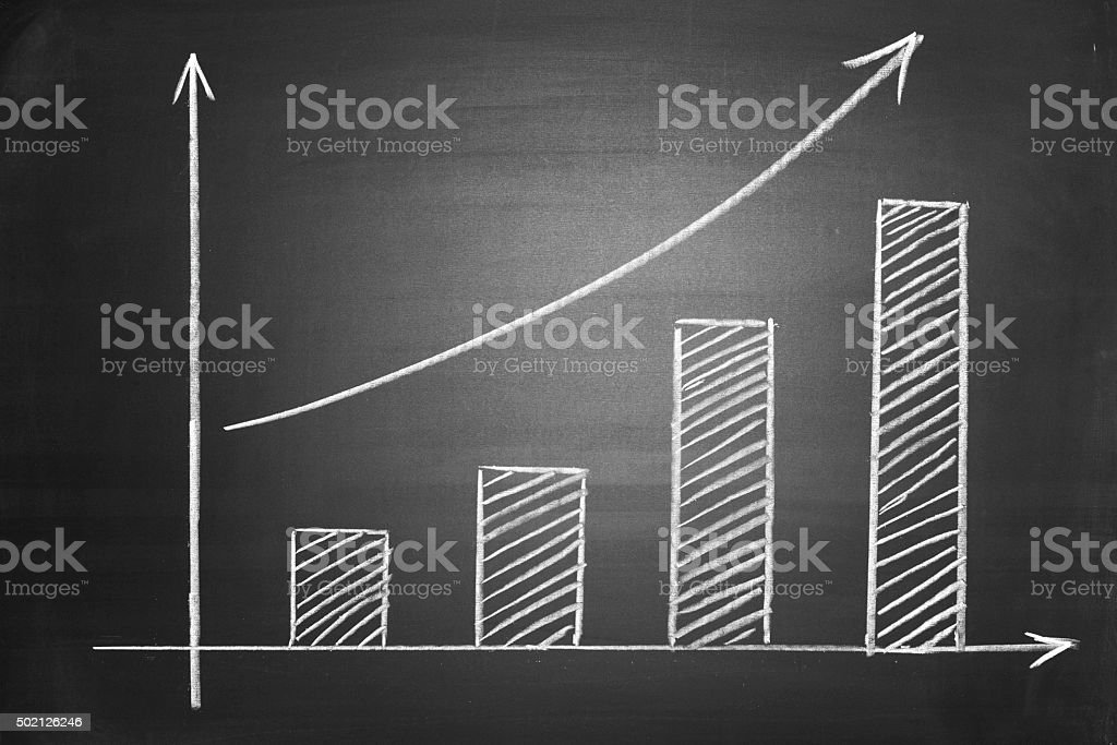 Bar graph on blackboard stock photo