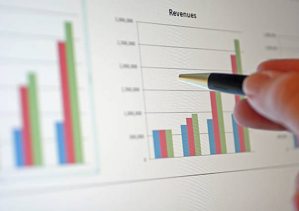 A bar graph showing an increase in revenue stock photo