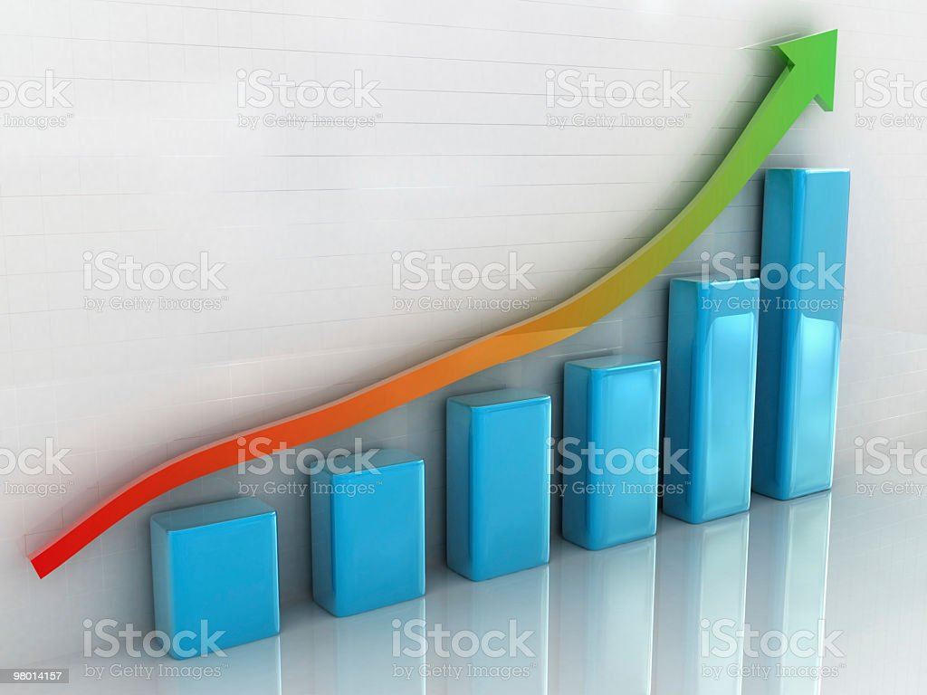 Bar graph with an arrow going up royalty free stockfoto