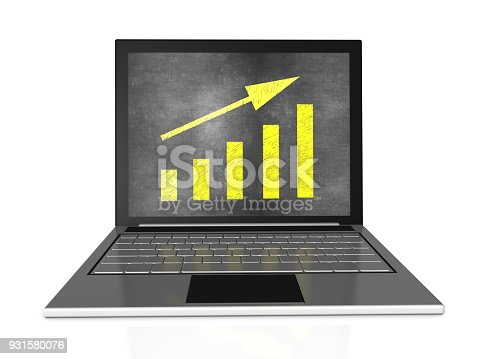 527033580istockphoto Bar Graph with Chalk on Laptop 931580076