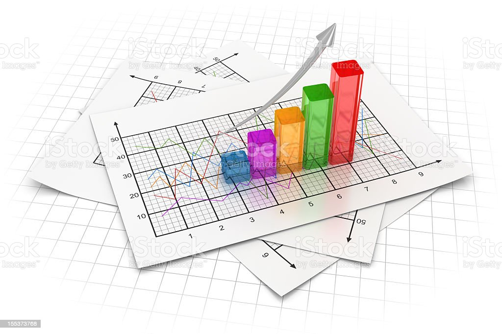 Bar graph with five colored bars royalty-free stock photo