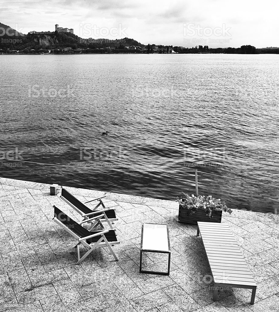 Bar in front of Lake. Black and White stock photo