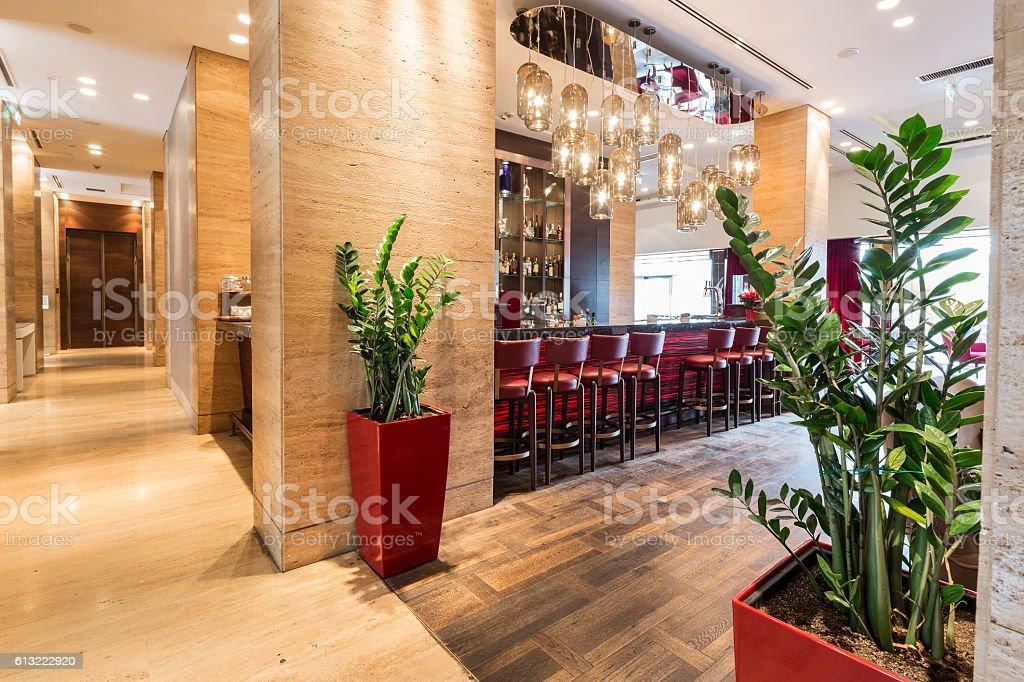bar in hotel lobby interior stock photo