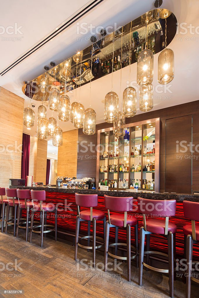 bar in hotel lobby interior