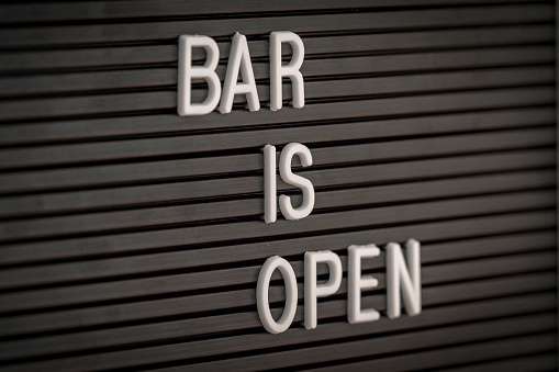 istock Bar is Open - Marquee sign 1139441422