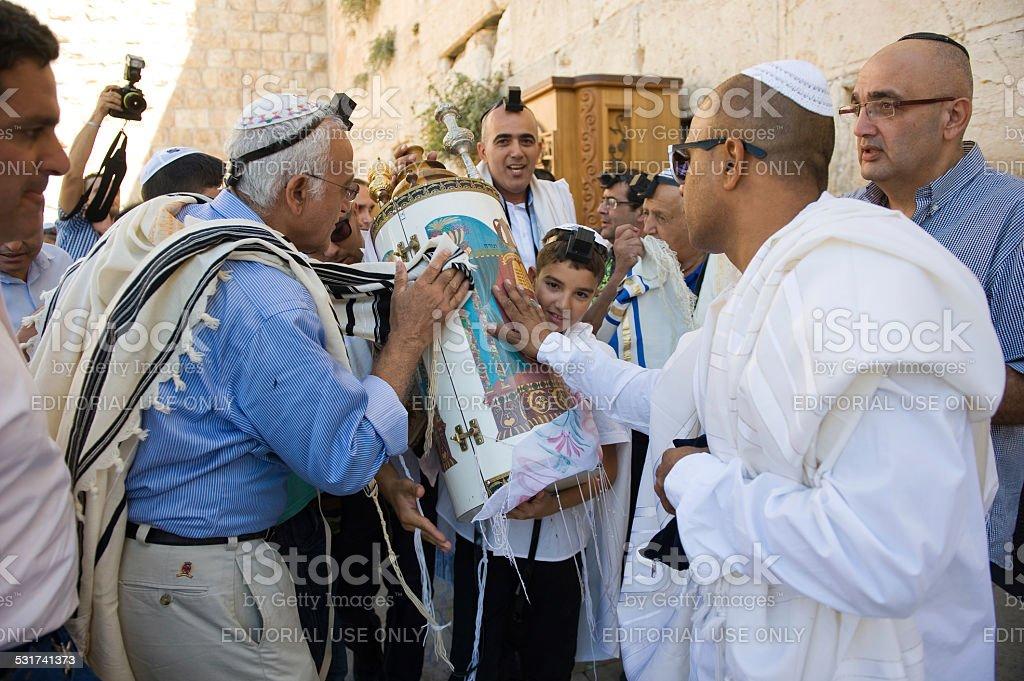 Bar Mitzvah ritual at the Wailing Wall stock photo