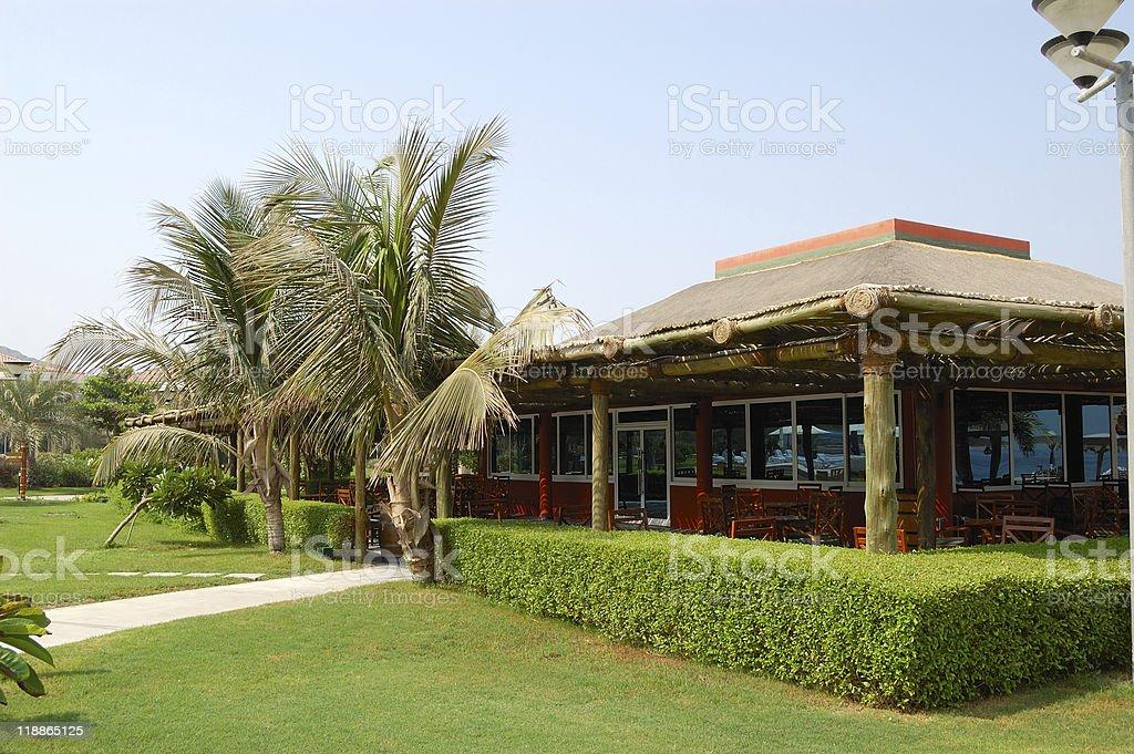 Bar near the beach of resort's hotel, Dubai, UAE royalty-free stock photo