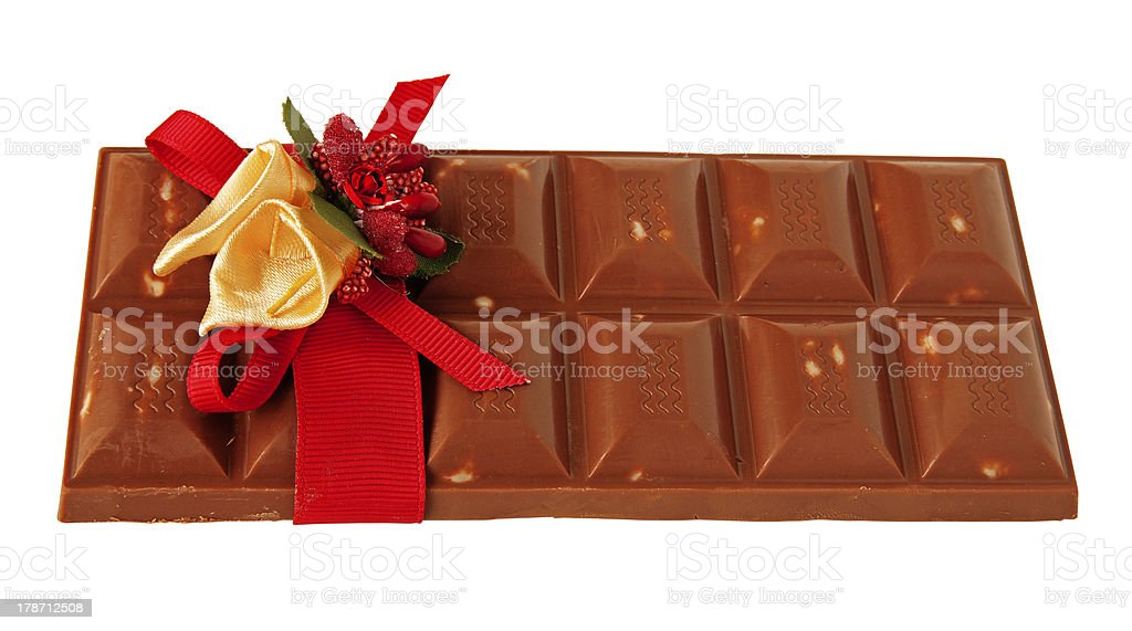 bar of chocolate in a gift wrap royalty-free stock photo
