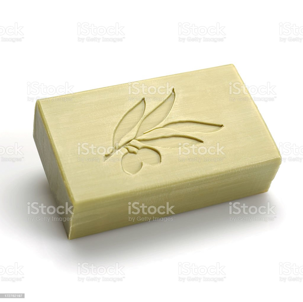 Bar of olive oil soap stock photo