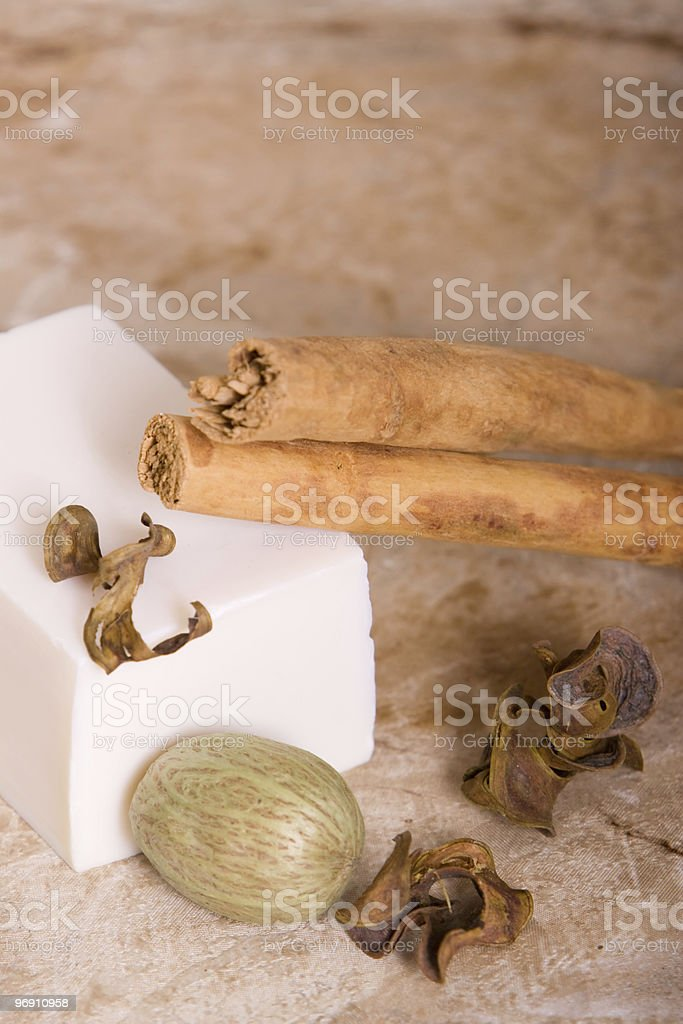 Bar of soap with cinnamon sticks royalty-free stock photo
