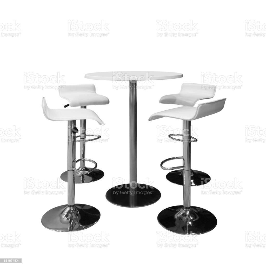 Bar Ou Chaises De Bureau Et Table Ronde Isol Sur Fond Blanc Photo Libre Droits