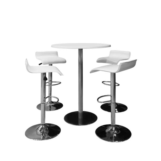bar or office chairs and round table isolated on white background bar or office chairs and round table isolated on white background stool stock pictures, royalty-free photos & images