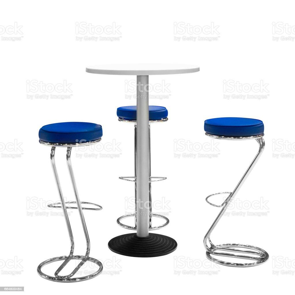 Bar Ou Chaises De Bureau Et Table Ronde Isol Fond Blanc Photo Libre Droits