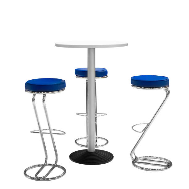 bar or office chairs and round table isolated white background - tall high stock pictures, royalty-free photos & images