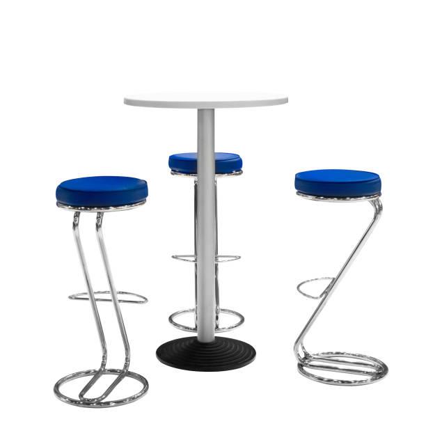 bar ou chaises de bureau et table ronde isolé fond blanc - Photo