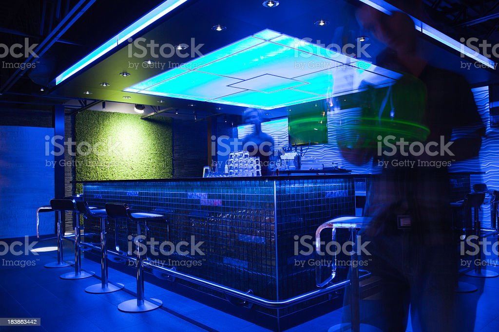 Bar Photo Shoot - Blue Spacious Employee royalty-free stock photo