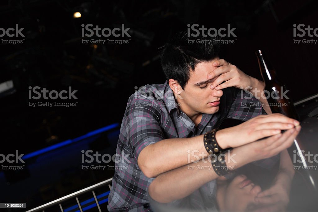 Bar Photo Shoot - Man Headache royalty-free stock photo