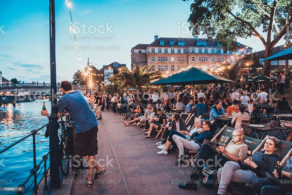 Bar scene at spree river at Berlin stock photo