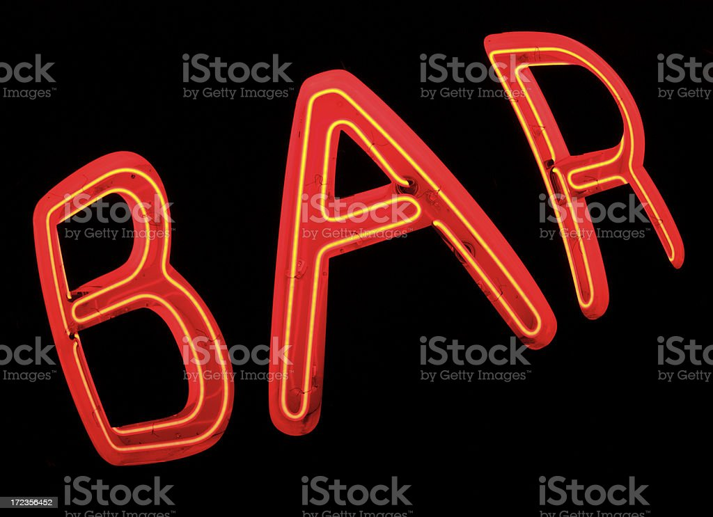 Bar Sign in Red Neon On Black royalty-free stock photo