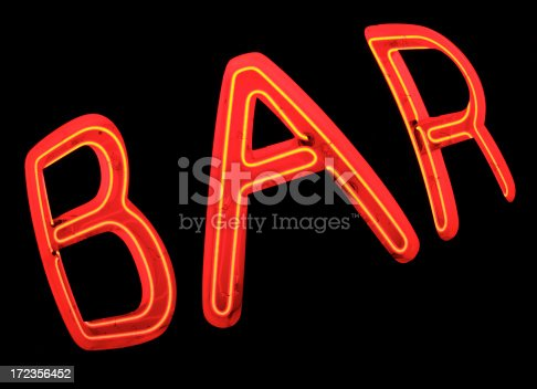 istock Bar Sign in Red Neon On Black 172356452