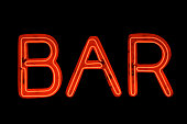Bar Sign in Red Neon on Black