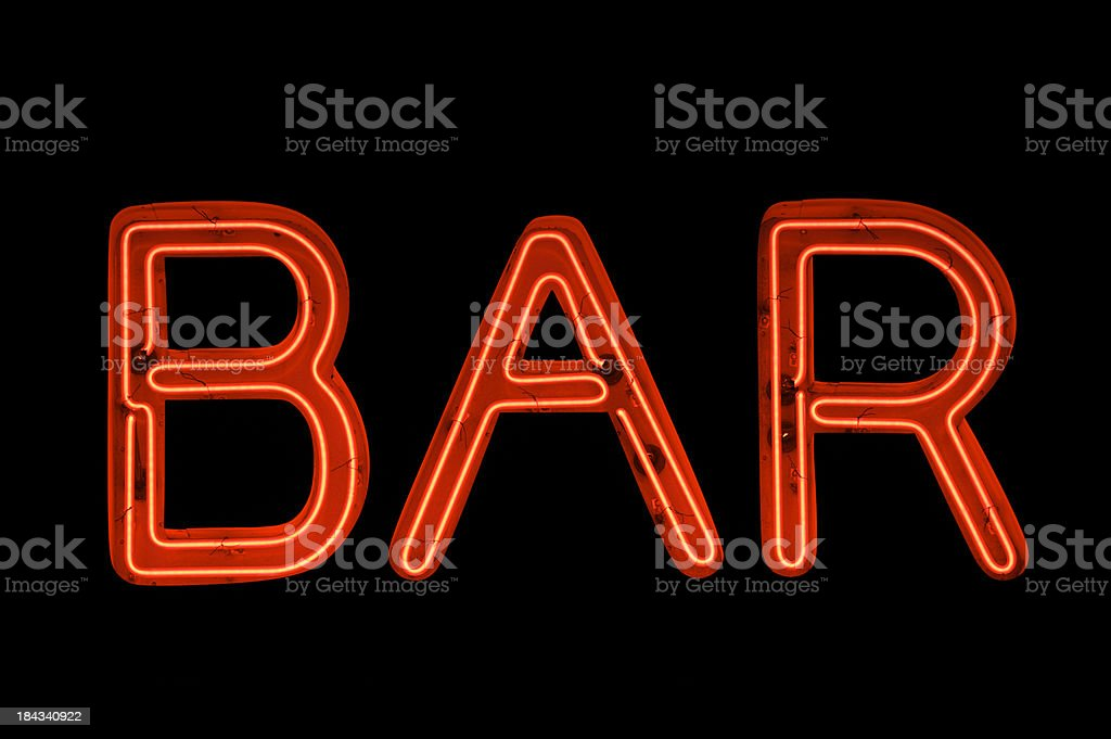 Bar Sign in Red Neon on Black stock photo