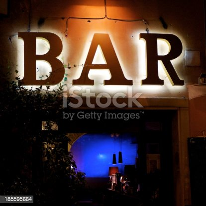 istock Bar Sign in the evening 185595664